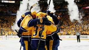 Austin Watson #51 of the Nashville Predators celebrates