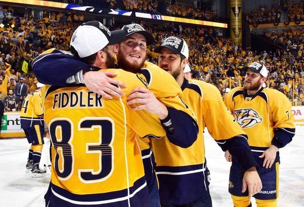 The Nashville Predators celebrate after defeating the Anaheim