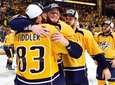 The Nashville Predators celebrate after defeating the Anaheim