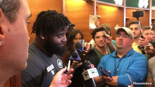 Jets defensive end Sheldon Richardson answered questions about his