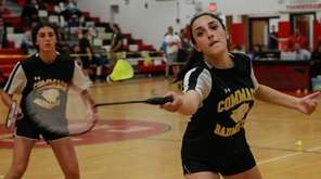 Emily Haber of Commack returns the volley as