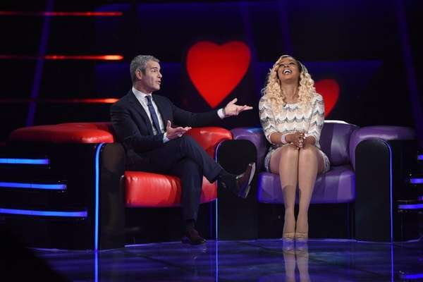 Host Andy Cohen and contestant Sheena Nicole Williams