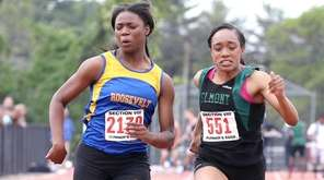 Elmont's Brianna Harris, right, edges Roosevelt's Alyshia Henry