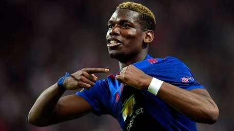 Manchester United's Paul Pogba celebrates after the UEFA