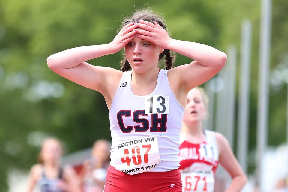 Alexandra Emanuel of Cold Spring Harbor reacts after