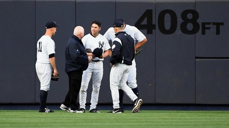 New York Yankees centerfielder Jacoby Ellsbury is checked