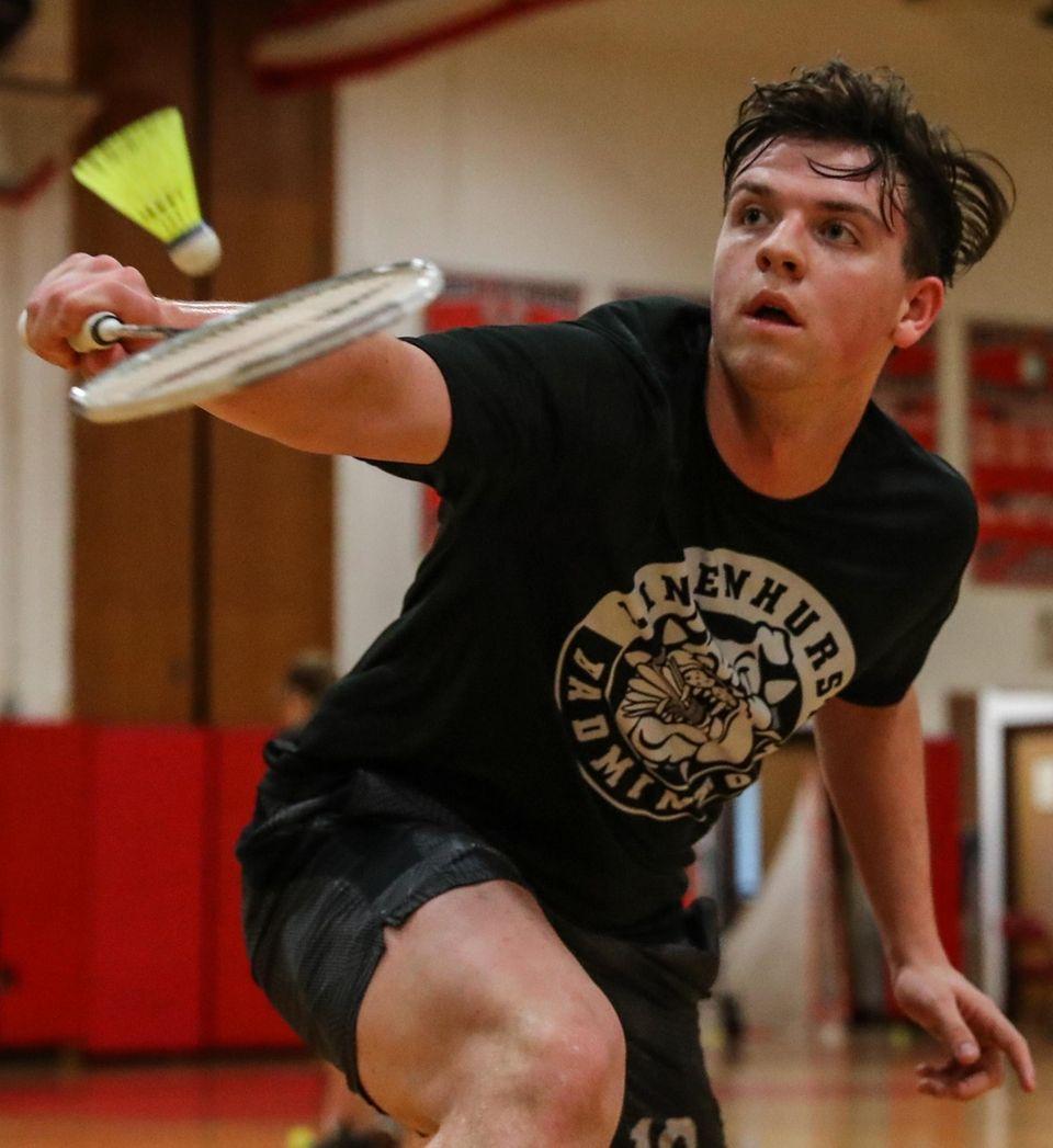 Jon Meyer of Lindenhurst returns a volley in