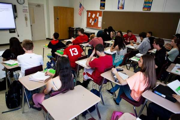 Students at Center Moriches High School in Center