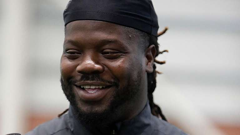 Giants defensive tackle Damon Harrison speaks to reporters