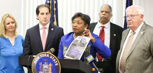 State Sen. Andrea Stewart-Cousins speaks about a package