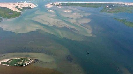 This aerial photograph from Stony Brook University marine