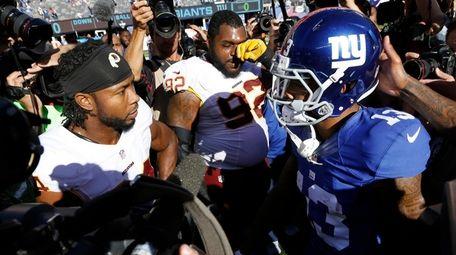 Washington Redskins cornerback Josh Norman, left, and New