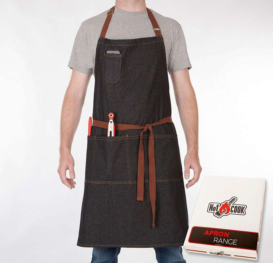 This grilling apron has convenient pockets for phones,