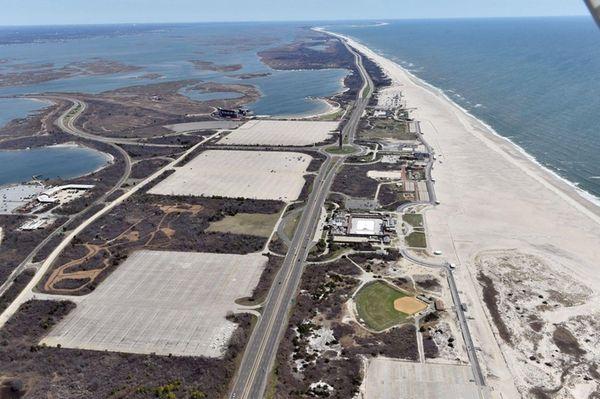 Aerial views of Jones Beach State Park, facing