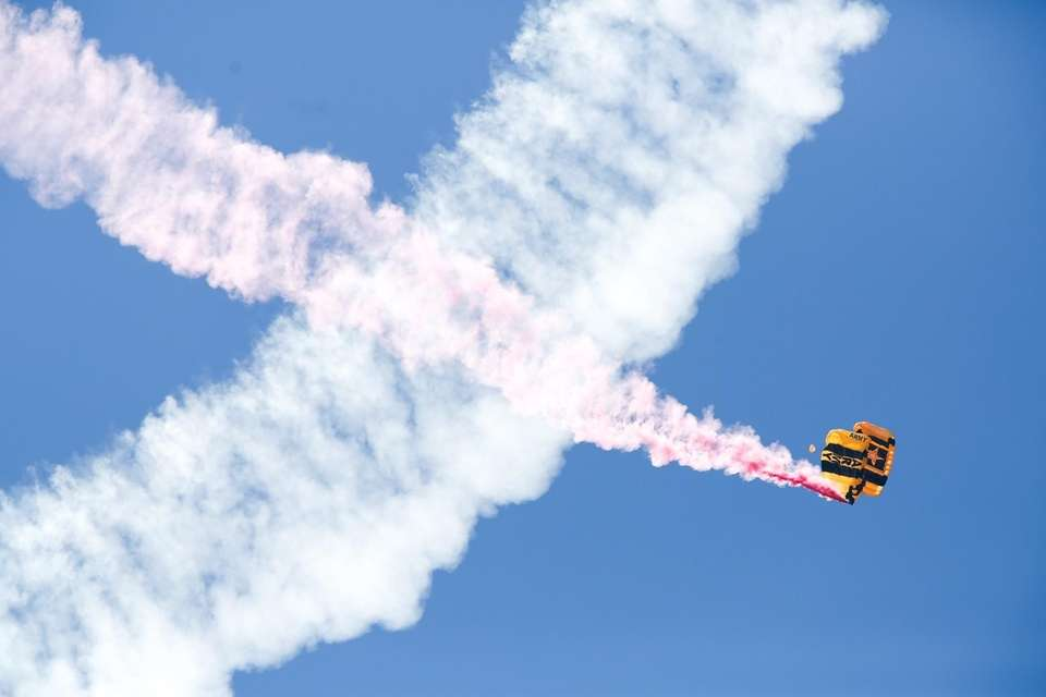 The United States Army Golden Knights parachute in