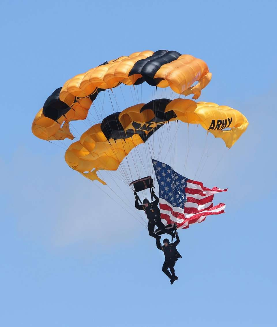 Flying the American flag, members of the U.S