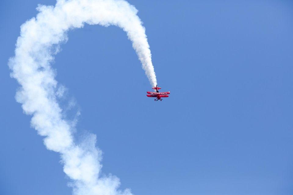 Sean D. Tucker pilots his aircraft during a