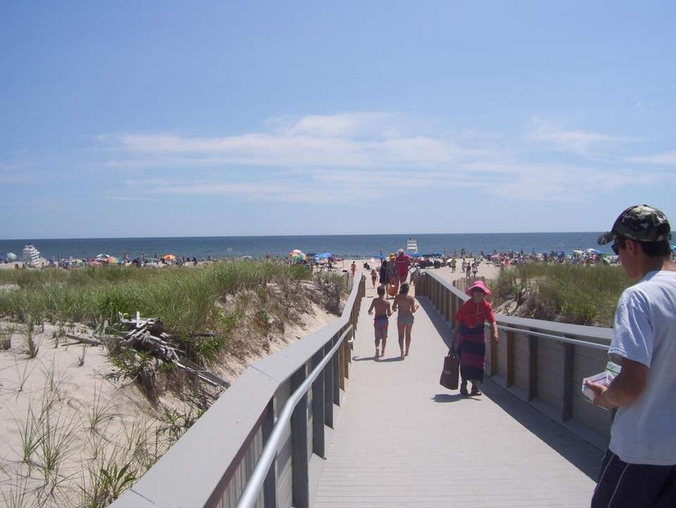 PONQUOGUE BEACH, on Dune Road, Hampton Bays. Beach: