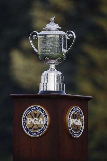 The Wanamaker Trophy sits on the first tee