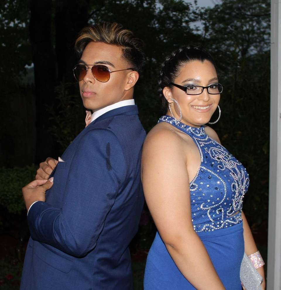 Kalvin Cruz, 18, and Evelyn Rodriguez, 17, pose