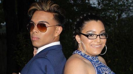 Kalvin Cruz, 18, and Evelyn Rodriguez, 17, pose