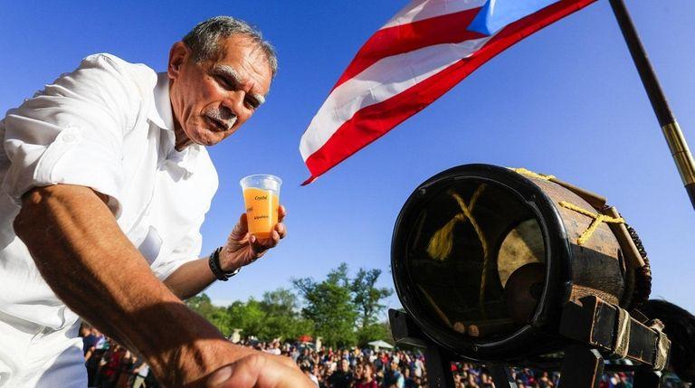 Puerto Rican activist Oscar López Rivera, 74, greets