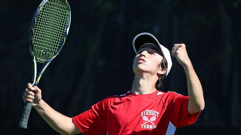 Andre Kirkorian of Syosset celebrates a point against