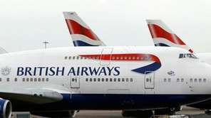 British Airways planes are parked at Heathrow