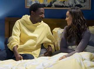 Jerrod Carmichael, left, and Amber Stevens West