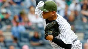 Dellin Betances of the New York Yankees pitches in