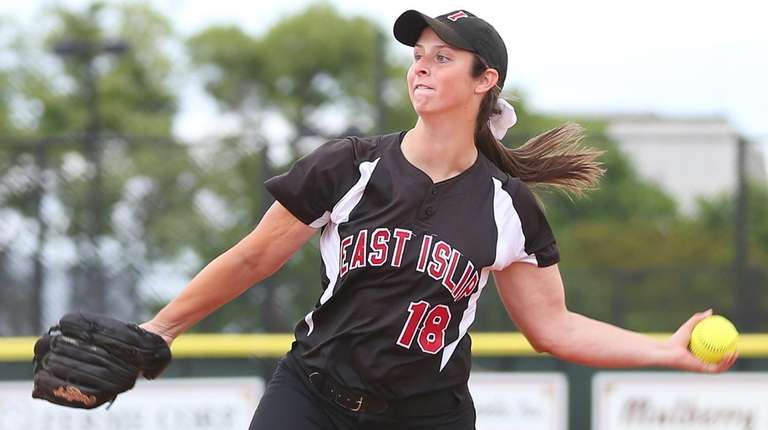 Courtney Greene of East Islip pitches during the