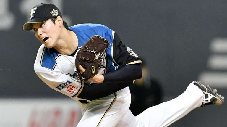 Shohei Ohtani of the Nippon Ham Fighters delivers