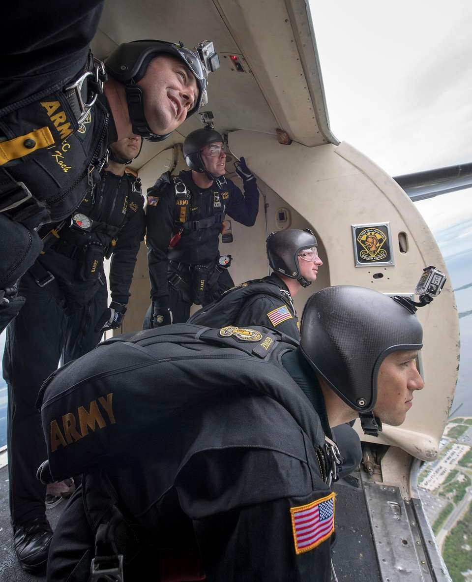 The Golden Knights team of parachutists prepare for