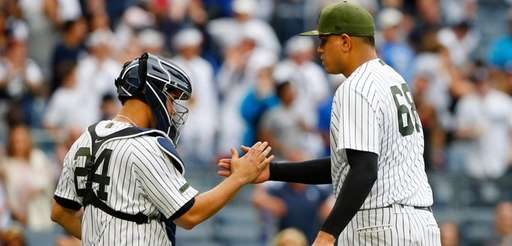 Dellin Betances and Gary Sanchez of the New