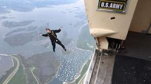 The Army Golden Knights parachute team geared up to