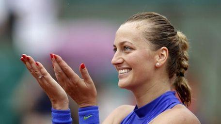 Petra Kvitova of the Czech Republic thanks the