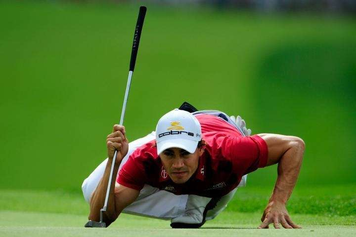 Camilo Villegas of Colombia lines up a putt