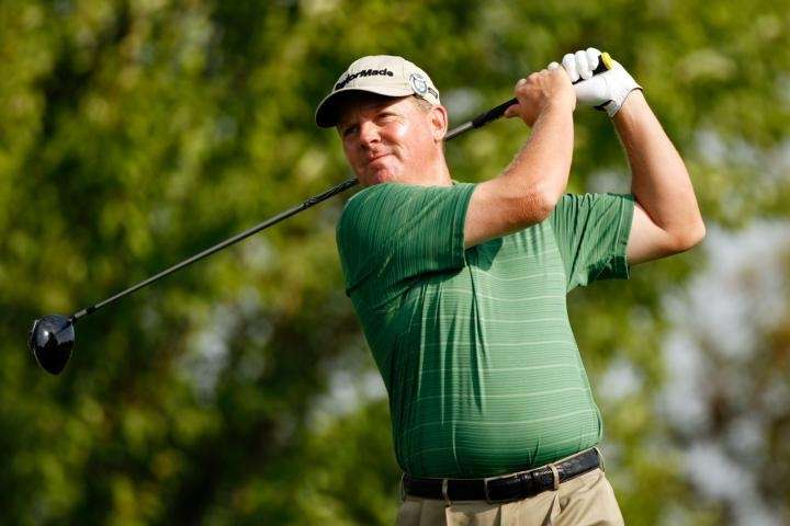 Michael Bradley watches his tee shot on the