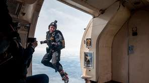 A member of the Army's Golden Knights parachute