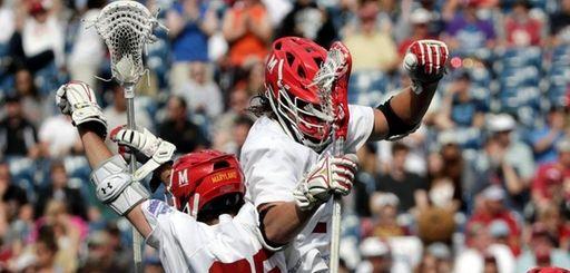 Maryland's Dylan Maltz celebrates his goal against Denver