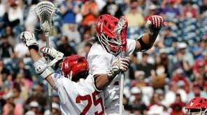 Maryland's Dylan Maltz celebrates his goal against Denver