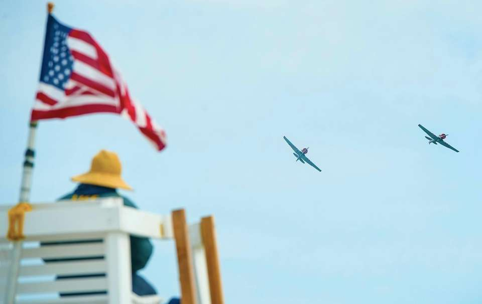 GEICO Skytypers airplanes perform during the 2017 Bethpage