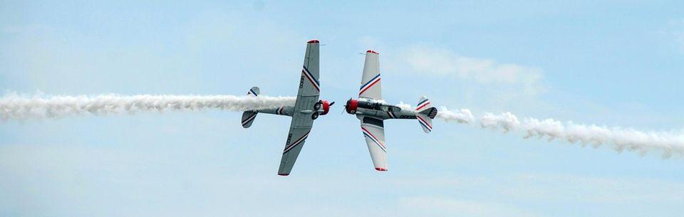 GEICO Skytypers SNJ airplanes perform over Jones Beach