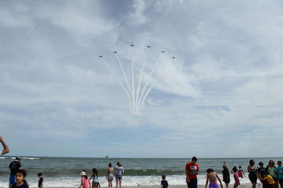 The GEICO Skytypers planes perform during the Bethpage