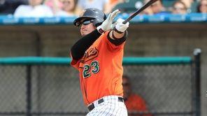 The Ducks catcher Alex Burg #23 hit a