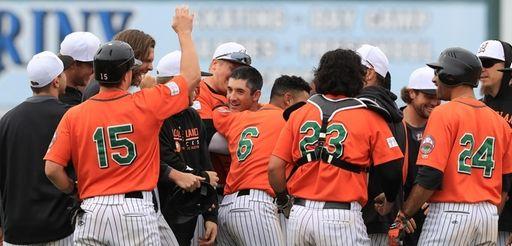 Ducks shortstop Dan Lyons #12 celebrates with teammates