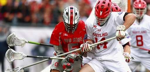 Tim Muller #14 of the Maryland Terrapins competes