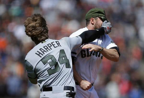 Wild brawl erupts after Harper hit by pitch