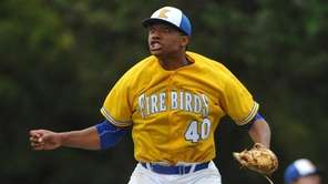 Jason Diaz #40, Kellenberg starting pitcher, reacts after