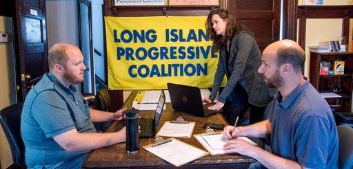 Long Island Progressive Coalition officials, from left, Dan
